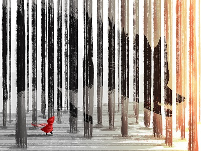 Little Red Riding Hood scary picture book wood wolf little red riding hood inspiration art illustration