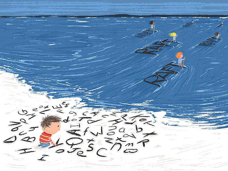 Dyslexia Illustration beach assemble kidlit letters words dyslexia sea inspiration art illustration