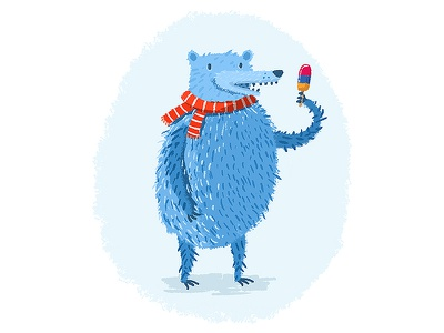 Blue Bear ice cream ice lolly cold bear blue picture book kids illustration