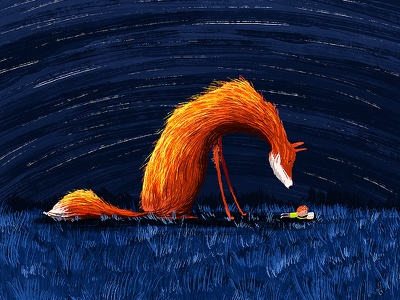 Reading Fox night kid book reading fox animal kids book illustration