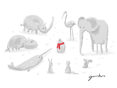 Gainsboro red scarf penguin grey gainsboro kidlitart kids kidlit illustration