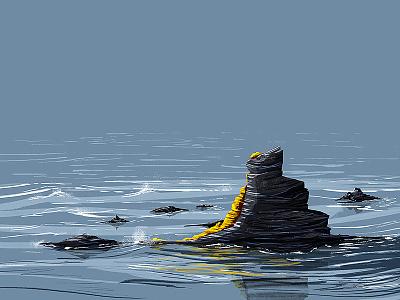Amber Island treasure amber gold rocks sea illustration