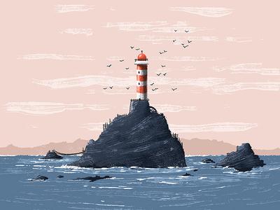 Lighthouse seagulls kidlitart rocks waves sea lighthouse illustration