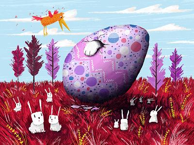 Rabbit Egg bird happy easter easter egg rabbit kids illustration