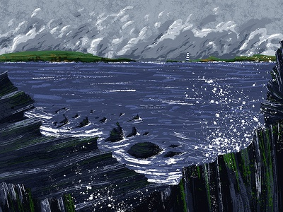 Irish Coast waves seas rough sea irish coast coast ireland irish illustration