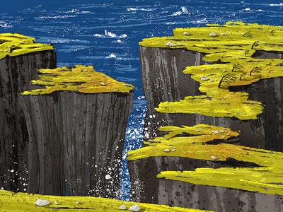 Irish Cliffs waves seas rough sea irish coast coast ireland irish illustration