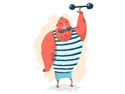 There's nothing stronger than a strongman's moustache. circus strong kidlit retro weights strongman moustache illustration