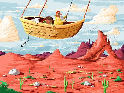 Flying Desert Boat kidlit desert flying boat picture book kids illustration