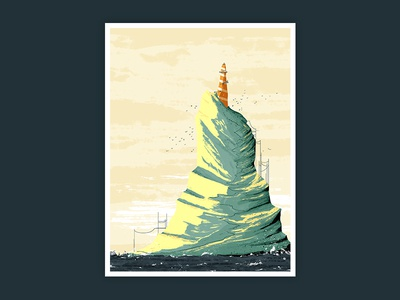 Orange Lighthouse seagulls kidlitart rocks waves sea lighthouse illustration