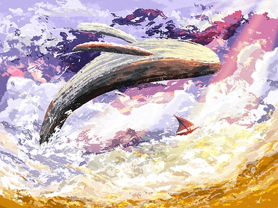 Cloud Whale fantasy flying gold purple painting sky clouds boat whale illustration