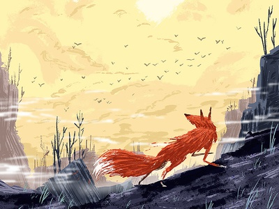Fox On The Run fog lonely forest run fox picture book kids illustration