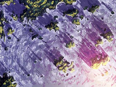 Asteroid Islands waves water sea sunset lighting islands painting illustration