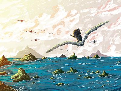 Teal Blue Seagull Journey sea adventure journey seagull kids kidlit illustration