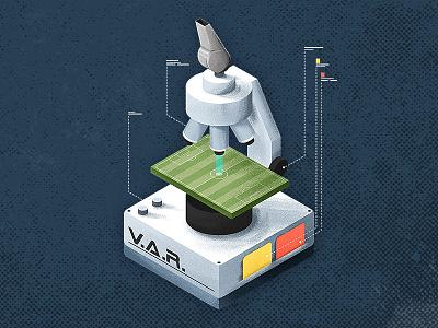 V.A.R. isometric poster editorial v.a.r. var 2018 world cup soccer football illustration