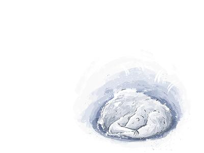 Hibernate cold warm snow sleep hibernate polarbear kidlitart illustration