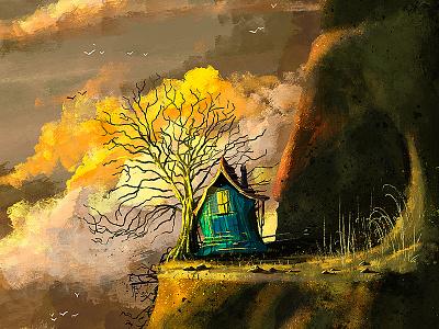 Tree House sunset texture tree house treehouse ireland painting illustration