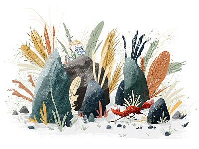 Spotted! plants digital painting kids texture illustration rocks fox spotted