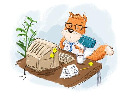 Monday Morning Emails morning monday kidlitart fox email computer kids texture illustration