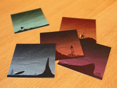 Tiny Voyage Test Prints print voyage space rocket alien planet test print proofs