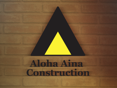 Tribal symbol logo hawaiian logo construction brick triangle yellow black