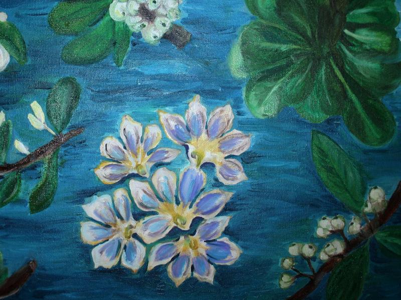 Naupaka :: Hawaiian Native Flower  flower oil painting hawaiian hawaii myths