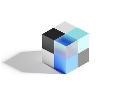 Vault io acrylic glass shadows lights logo design spatial vr abstract 3d rendering blender cube branding logo ux design