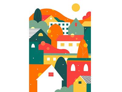 Cityview procreate cityscape warmth art illustration graphic design illustrator city