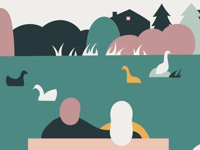 Community Mural: Pond mural community together digital art design graphic design illustrator illustration love pond