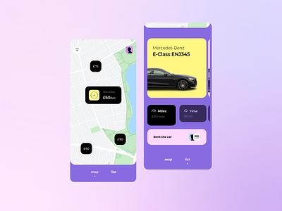 Carsharing App icon typography design app minimalism map ux ui car rental app