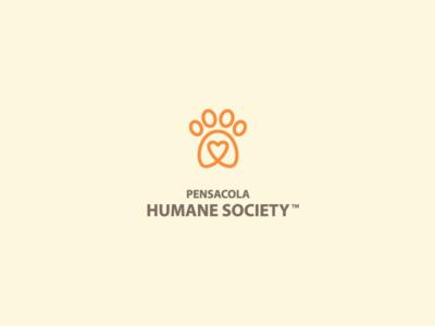 Pensacola Humane Society rebrand shelter humane heart paw people group logo mark orange monoline simple