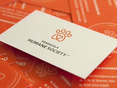 Pensacola Humane Society Rebrand simple monoline orange mark logo group people paw heart humane shelter visual brand