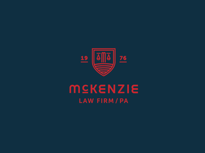 McKenzie Law Firm Logo m crest scales of justice shield logo law firm lawyer