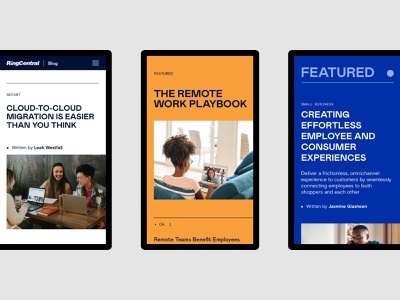 RingCentral Blog Redesign—Mobile content strategy ux ui website blog design system branding agency experience branding