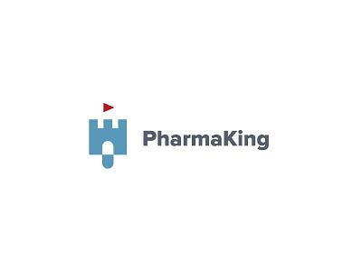 Pharmaking pill castle just for fun logo mark flag king kingdom