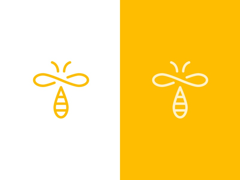 Infinibee drop natural cosmetics naming branding monoline symbol infinity bee mark logo
