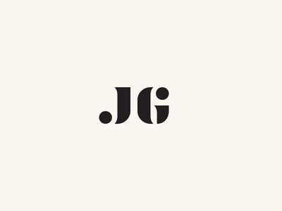 JG: New Logo stencil serif minimal logo brand typography g j