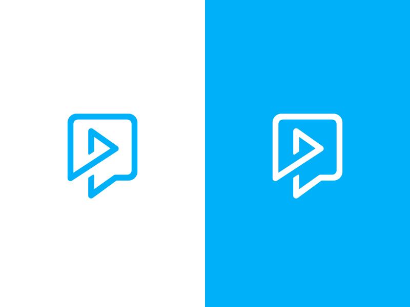 Talk + Play concept icon identity branding logo button play speech bubble talk