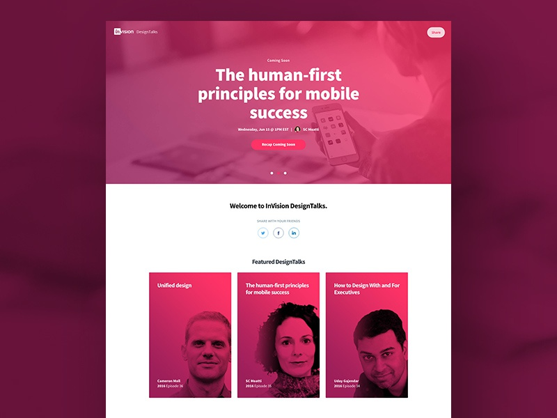Introducing DesignTalks learning webinar ux ui web website landing page