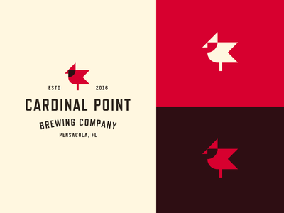 Cardinal Point geometry logo typography nature badge crest branding brewing bird flag point cardinal