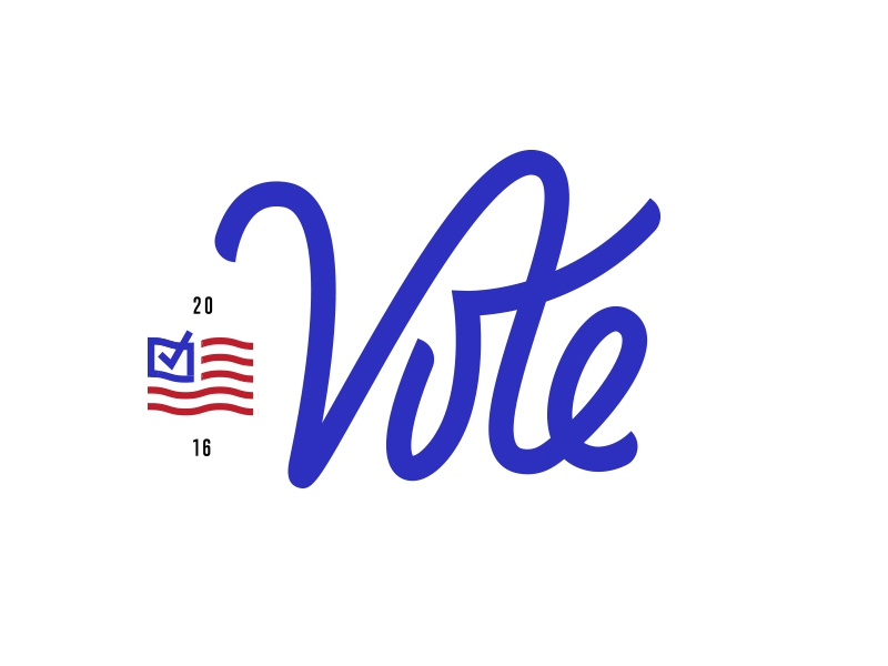 Vote 2016 check flag election vote script hand lettering typography logo