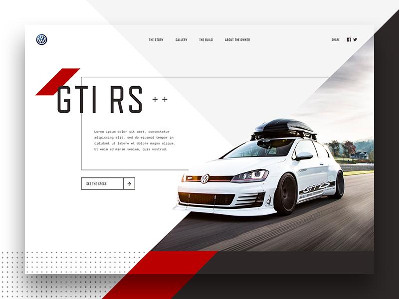 GTI Concept  volkswagen vw gti automotive car type web design typography layout landing page website