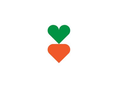 Carrot + Heart identity branding logo geometric food health healthy heart carrot