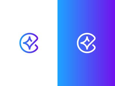 C + Star identity branding logo geometric future technology star c