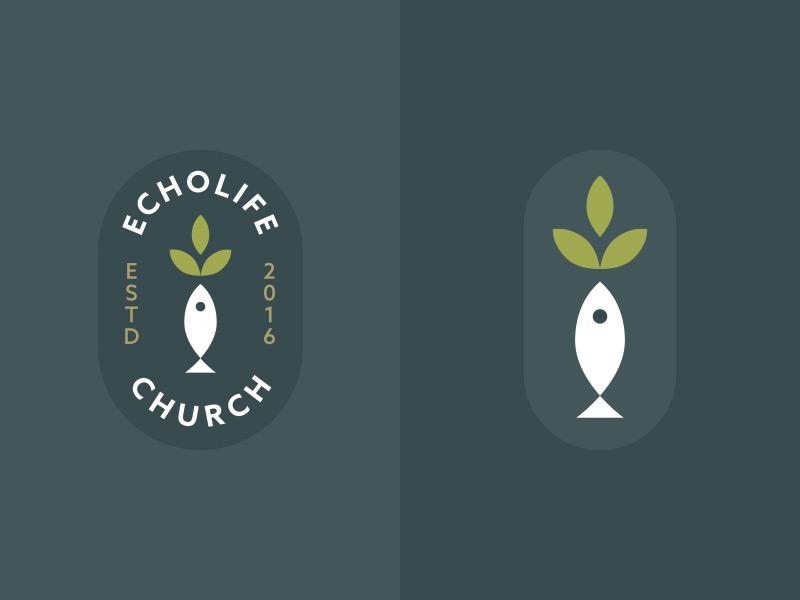 Echolife Church brand branding logo leaf fish olive brand ichthys church