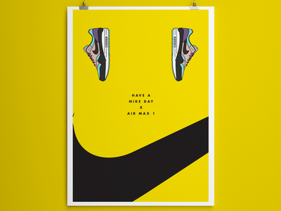 Have a Nike Day illustration vector yellow minimal poster minimal graphic design poster poster design nike air branding design adobe illustrator