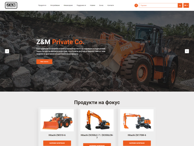 Z & M / Hitachi Machinery Representative / Web Design hitachi services website ux ui design
