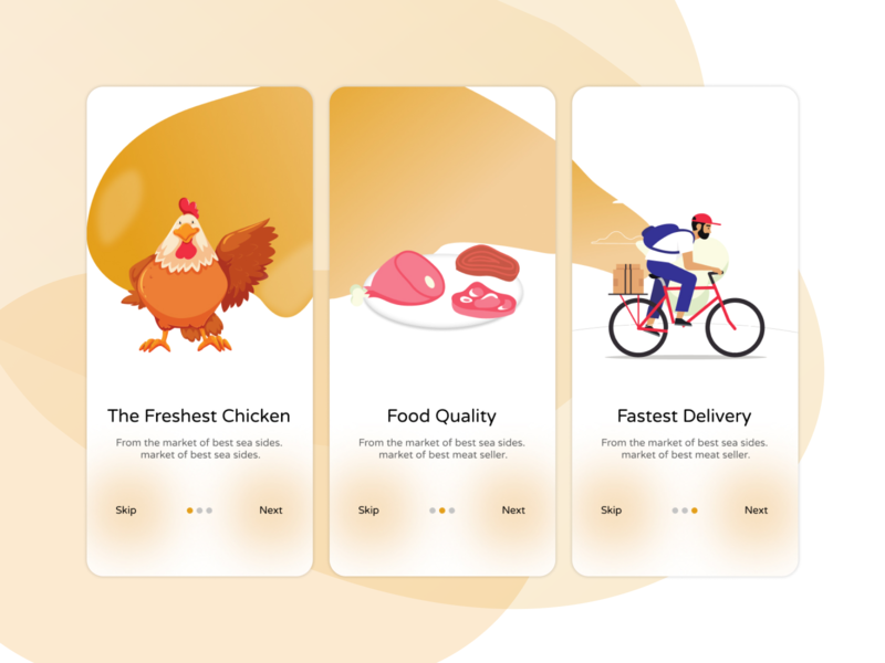 Chicken delivery app flat ux vector hungry figmadesign illustration creative design app color android design uiux ui