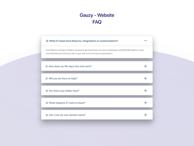 Gauzy Platform - Website - UX/UI Design & Prototype design ui ui design uidesign faq page frequently asked questions faq