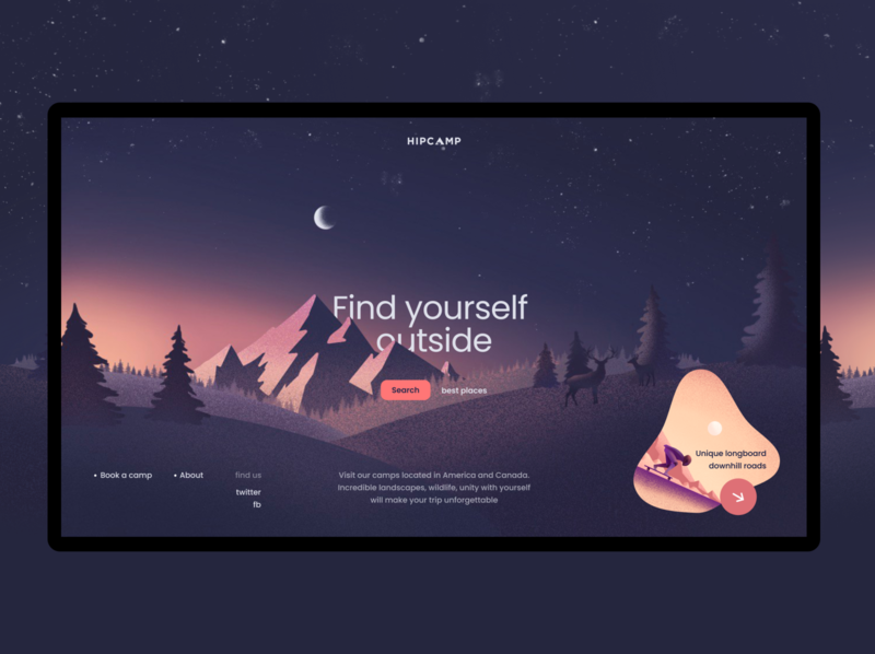 Find yourself ouside colors website sunrise nature illustration ux ui design