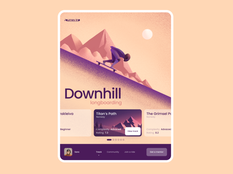 Downhill extreme sports sunny tablet web longboard downhill illustration ux ui design